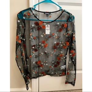 Express floral black mesh long sleeve top